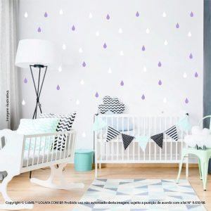 Kit Cartela Adesivo Infantil De Parede Gotas Mod:134