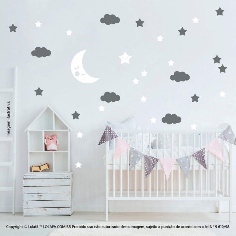 Kit Cartela Adesivo De Parede Infantil Lua Nuvens e Estrelas Mod:163