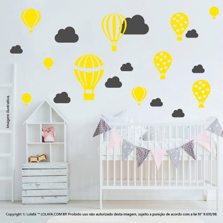Kit Cartela Adesivos Infantil Balões e Nuvens Mod:170