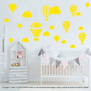 Kit Cartela Adesivo Quarto Bebe Balões e Nuvens Mod:174