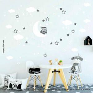 Kit Cartela Adesivo Para Parede Infantil Lua Nuvens Estrelas e Coruja Mod:179