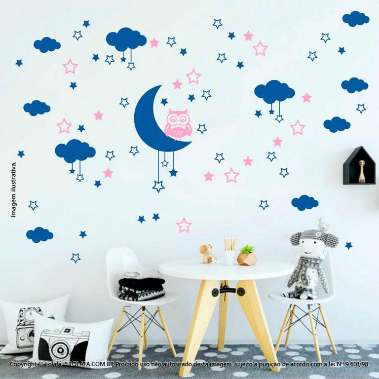 Kit Cartela Adesivo Quarto Infantil Lua Nuvens Estrelas e Coruja Mod:180