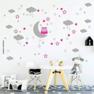 Kit Cartela Adesivos Quarto Infantil Lua Nuvens Estrelas e Coruja Mod:182