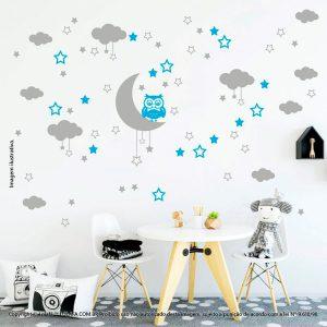 Kit Cartela Adesivo Infantil Para Parede Lua Nuvens Estrelas e Coruja Mod:185