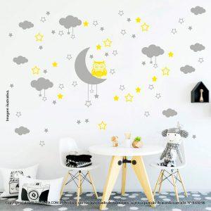 Kit Cartela Adesivo Quarto De Bebe Lua Nuvens Estrelas e Coruja Mod:186