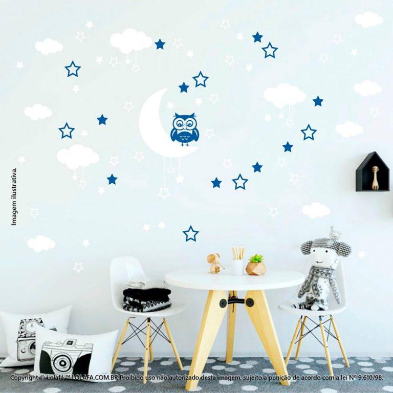 Kit Cartela Adesivos Infantil Para Parede Lua Nuvens Estrelas e Coruja Mod:187