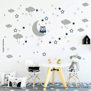 Kit Cartela Adesivo Infantil De Parede Lua Nuvens Estrelas e Coruja Mod:188