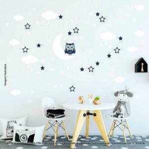 Kit Cartela Adesivos Infantis De Parede Lua Nuvens Estrelas e Coruja Mod:191