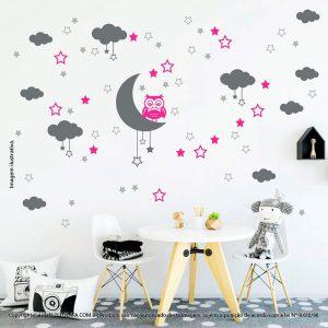 Kit Cartela Adesivo De Quarto De Bebe Lua Nuvens Estrelas e Coruja Mod:192