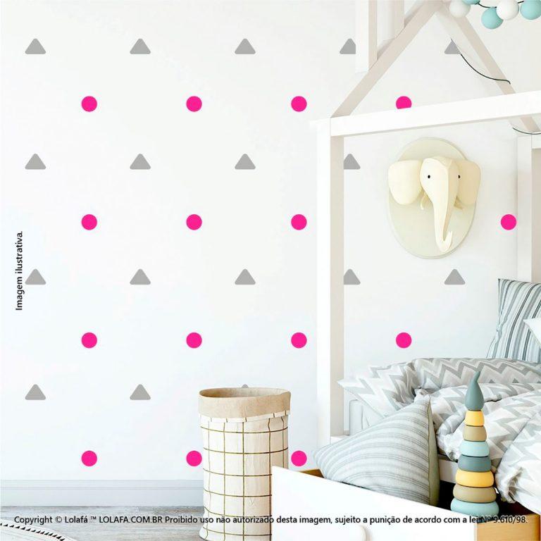 Kit Cartela Adesivos Para Parede De Quarto De Bebe Triângulos e Bolinhas Mod:200