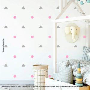 Kit Cartela Adesivo Decorativo Infantil Triângulos e Bolinhas Mod:201