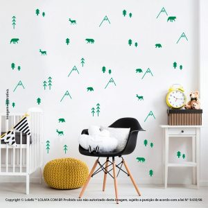 Kit Cartela Adesivos Decorativos Infantil Floresta Mod:208