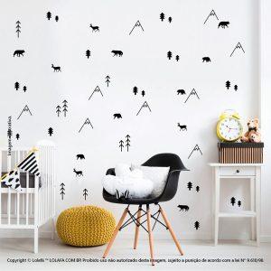 Kit Cartela Adesivos Decorativos Para Quarto De Bebe Floresta Mod:214