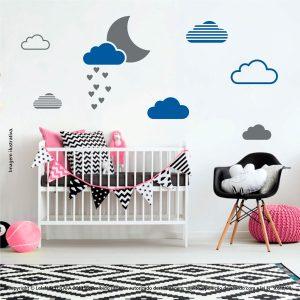 Kit Cartela Adesivo Infantil De Parede Lua e Nuvens Mod:242