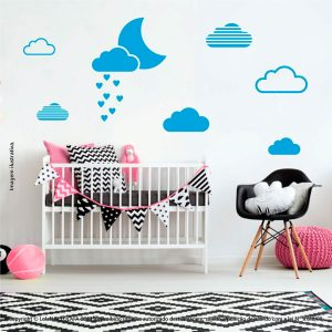 Kit Cartela Adesivos Infantil De Parede Lua e Nuvens Mod:244