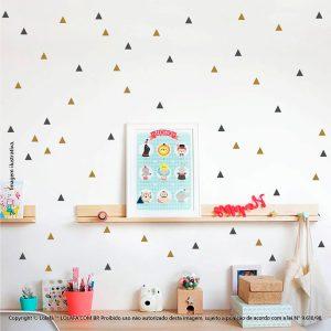 Kit Cartela Adesivos Infantil Parede Triângulos Mod:253