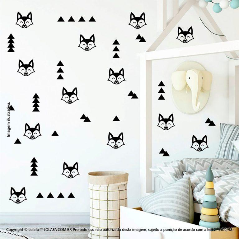 Kit Cartela Adesivos Para Quartos Infantis Raposa e Triângulos Mod:393