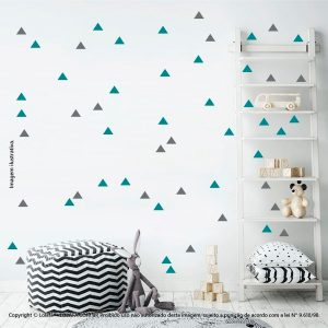Kit Cartela Adesivo De Parede Quarto Bebe Triângulos Mod:420