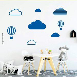Kit Cartela Adesivo Decorativo Infantil Nuvens e Balões Mod:471