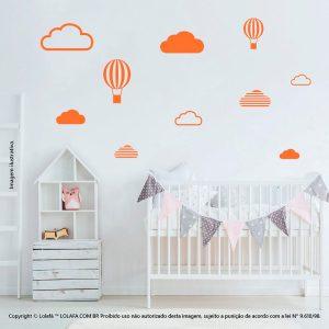 Kit Cartela Adesivo De Parede Infantil Barato Nuvens e Balões Mod:473