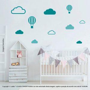 Kit Cartela Adesivo De Parede Quarto Bebe Nuvens e Balões Mod:474