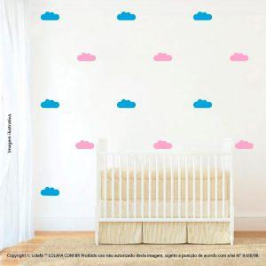 Kit Cartela Adesivo Decorativo Quarto Bebe Nuvens Mod:486