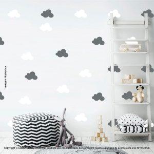 Kit Cartela Adesivo Parede Infantil Nuvens Mod:496
