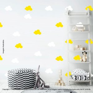 Kit Cartela Adesivo Quarto Bebe Nuvens Mod:498