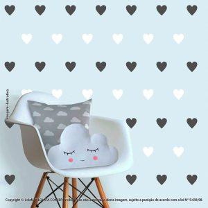 Kit Cartela Adesivo Para Parede Infantil Corações Mod:503