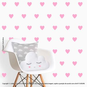 Kit Cartela Adesivos Para Parede Infantil Corações Mod:505