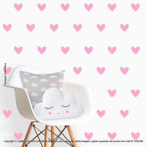 Kit Cartela Adesivos De Parede Para Quarto Infantil Corações Mod:508