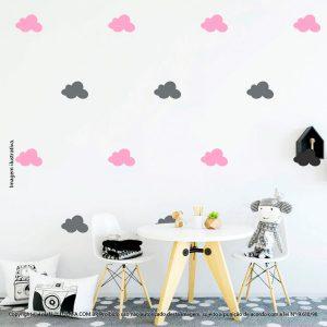 Kit Cartela Adesivo Infantil De Parede Nuvens Mod:512