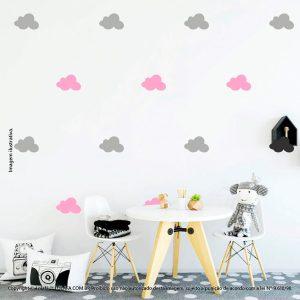 Kit Cartela Adesivos Infantis De Parede Nuvens Mod:515