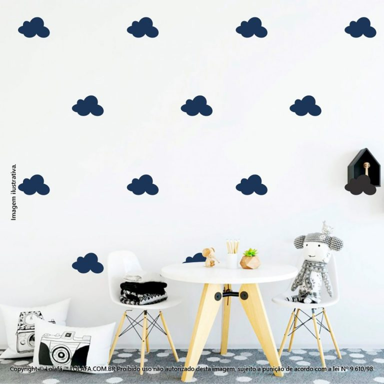 Kit Cartela Adesivo De Quarto De Bebe Nuvens Mod:516