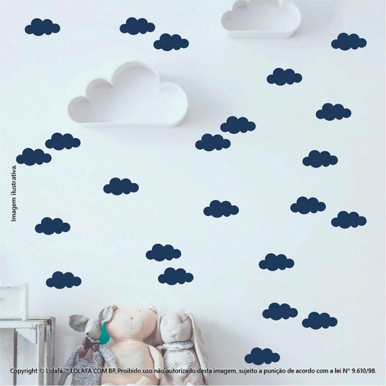 Kit Cartela Adesivo Decorativo Infantil Nuvens Mod:525