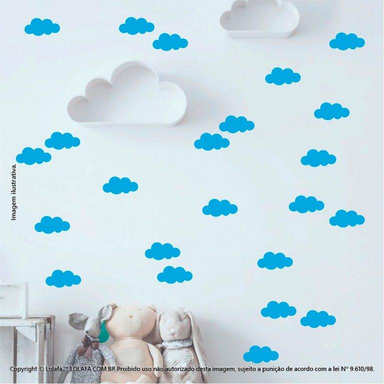 Kit Cartela Adesivos Parede Quarto Infantil Nuvens Mod:526