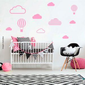 Kit Cartela Adesivos Decorativos Infantil Nuvens e Balões Mod:532