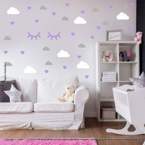 Kit Cartela Adesivo Quarto Bebe Nuvens Cílios e Corações Mod:552