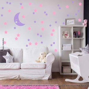 Kit Cartela Adesivo Decorativo Infantil Lua e Estrelas Mod:579