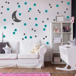 Kit Cartela Adesivo Infantil Lua e Estrelas Mod:601