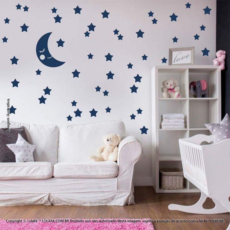 Kit Cartela Adesivos Infantil Lua e Estrelas Mod:602