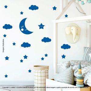 Kit Cartela Adesivo Infantil Para Parede Lua Nuvens e Estrelas Mod:617
