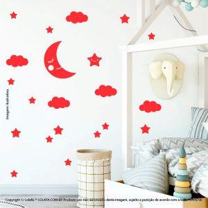 Kit Cartela Adesivo Decorativo Infantil Lua Nuvens e Estrelas Mod:633