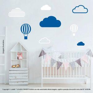 Kit Cartela Adesivo De Parede Infantil Barato Nuvens e Balões Mod:635