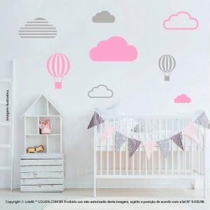 Kit Cartela Adesivo Para Parede Quarto De Bebe Nuvens e Balões Mod:637