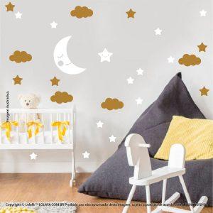 Kit Cartela Adesivos De Paredes Infantil Lua Nuvens e Estrelas Mod:652