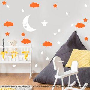 Kit Cartela Adesivo Quarto Bebe Lua Nuvens e Estrelas Mod:660