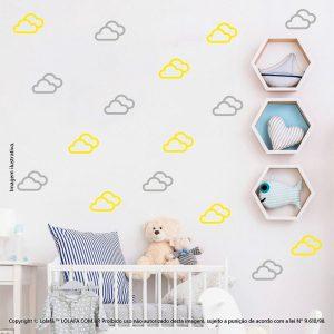 Kit Cartela Adesivo Quarto Bebe Nuvens Mod:714