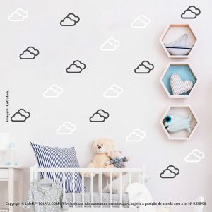Kit Cartela Adesivo Para Parede Infantil Nuvens Mod:719