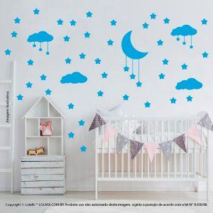 Kit Cartela Adesivos Infantil Parede Nuvens Estrelas e Lua Mod:739